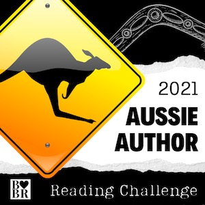 Diamond road sign with kangaroo is superimposed on a black and white background. The black strip at the tip has a boomerang, and the white strip has 2021 Aussie Author in black. The bottom black strip has the BBR logo with a heart between the two B's. Reading Challenge is in white next to it.
