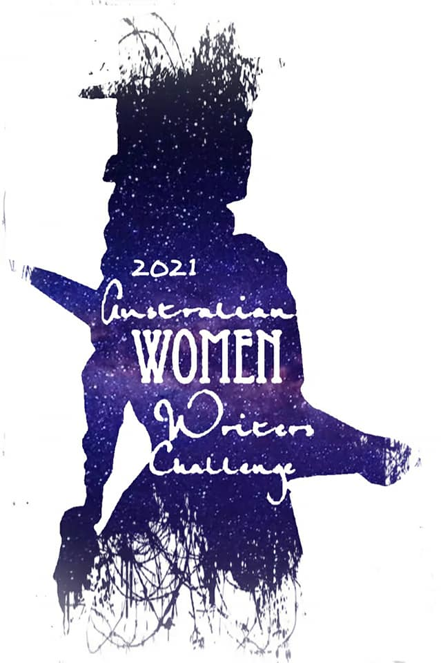 A sparkly purple silhouette of Miles Franklin with 2021 Australian Women Writers Challenge in white text.