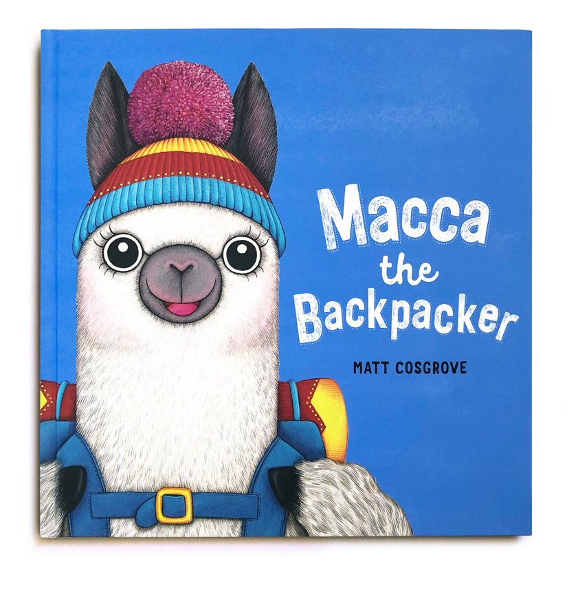 A white alpaca with a red, yellow and blue striped beanie with a purple bobble looks out from a blue cover. He has a blue, yellow and red backpack. Hs name is Macca. The book is called Macca the Backpacker by Matt Cosgrove. The title is in white and the author's name is in black.