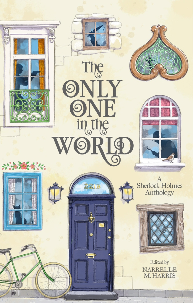 A cream cover with a blue door surrounded by different shaped windows with shadows in them and a bike to the left. The title is The Only One in the World.