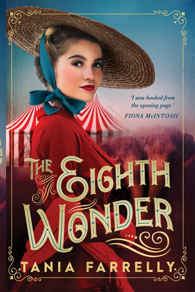 A young girl in a red dress and straw hat stands in front of a striped tent, with a blue sky and red landscape. The book is called The Eighth Wonder by Tania Farrelly.