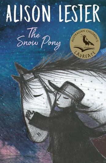 A blue and purple cover with a black and white drawing of a girl and a pony. above the pony is a gold circle with a book and magpie in black. The black text says Australian Children's Laureate. To the right is the title - The Snow Pony in pink. The author's name, Alison Lester is in capitals in white at the top.