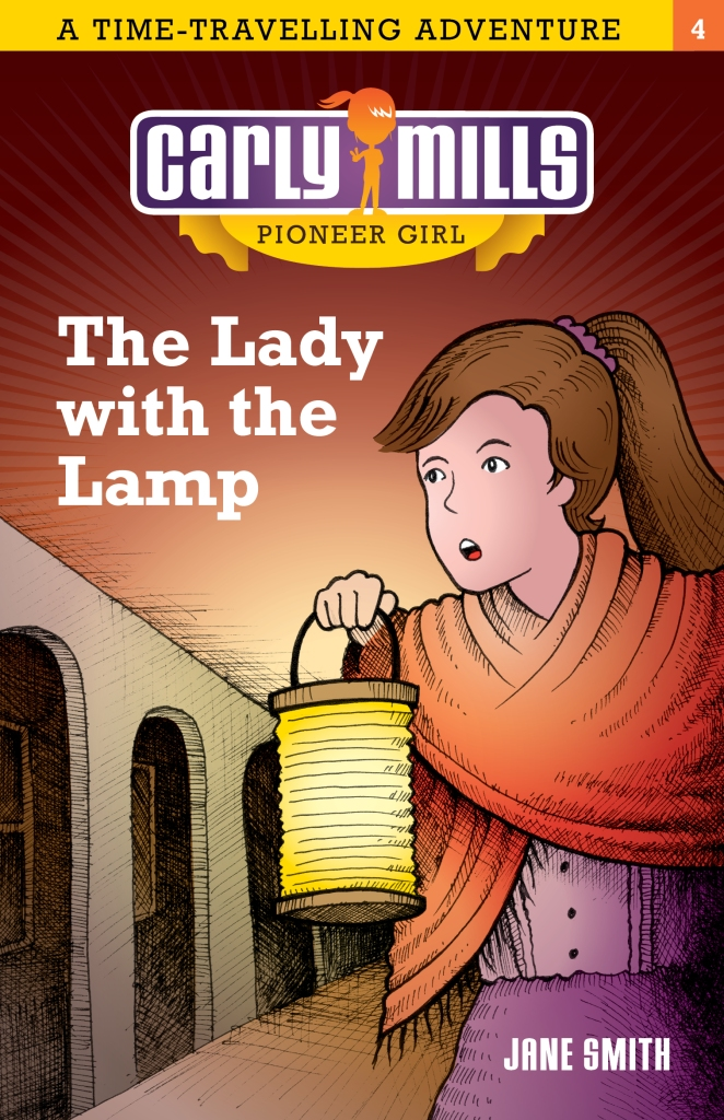 A young girl with a lamp and a red shawl. She has brown hair. The book is called Carly Mills, Pioneer Girl: The Lady with the Lamp by Jane Smith.