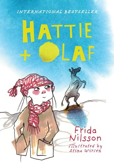 A girl looking at a donkey under a blue sky. The book is called Hattie and Olaf by Frida Nilsson