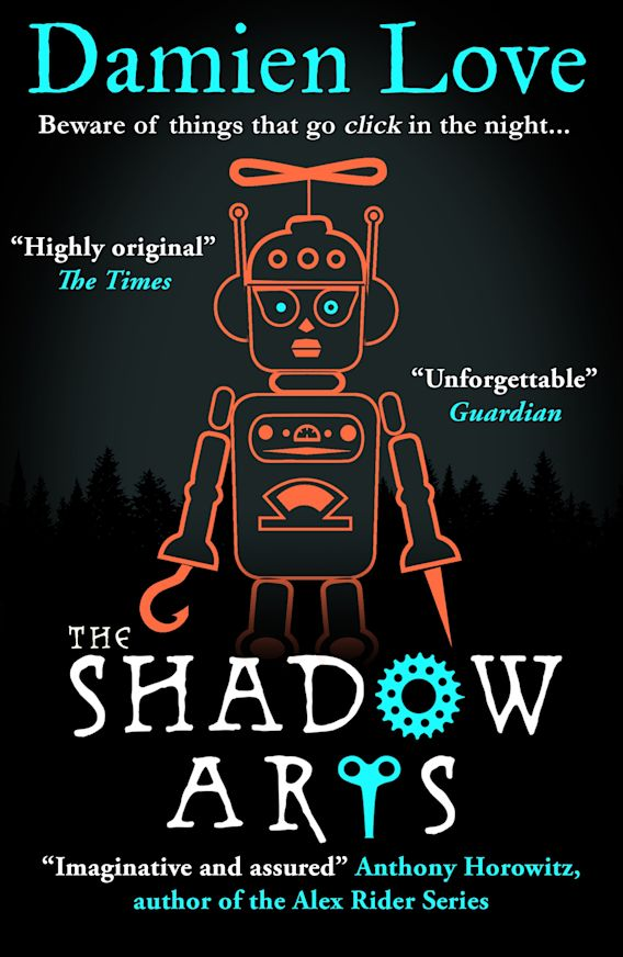 A black  cover with an orange robot. The Shadow Arts by Damien Love,