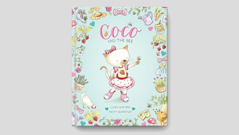 A blue book with flowers, plants, various gardening and farm items in a circle around a white kitten dressed in pink with a bow. The title is Coco and the Bee by Laura Bunting and Nicky Johnston.