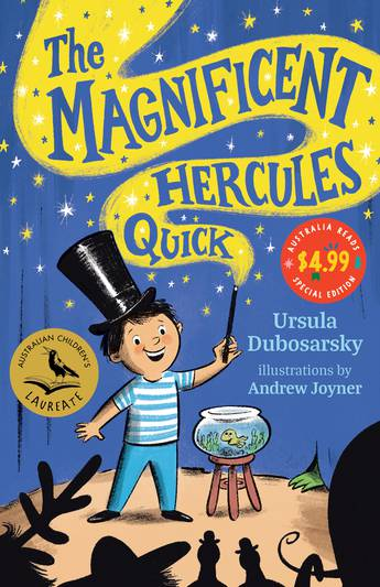 A boy stands in front of a blue curtain waving a magic wand. The words The Magnificent Hercules Quick are coming out of the wand.