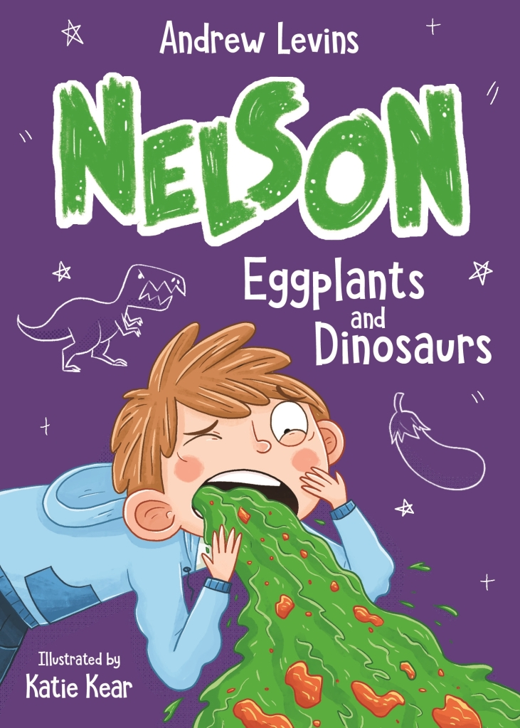 A purple book with a boy puking green vomit. He is white with orange hair and a blue jumper. The Book is called Nelson: Eggplants and Dinosaurs by Andrew Levins.