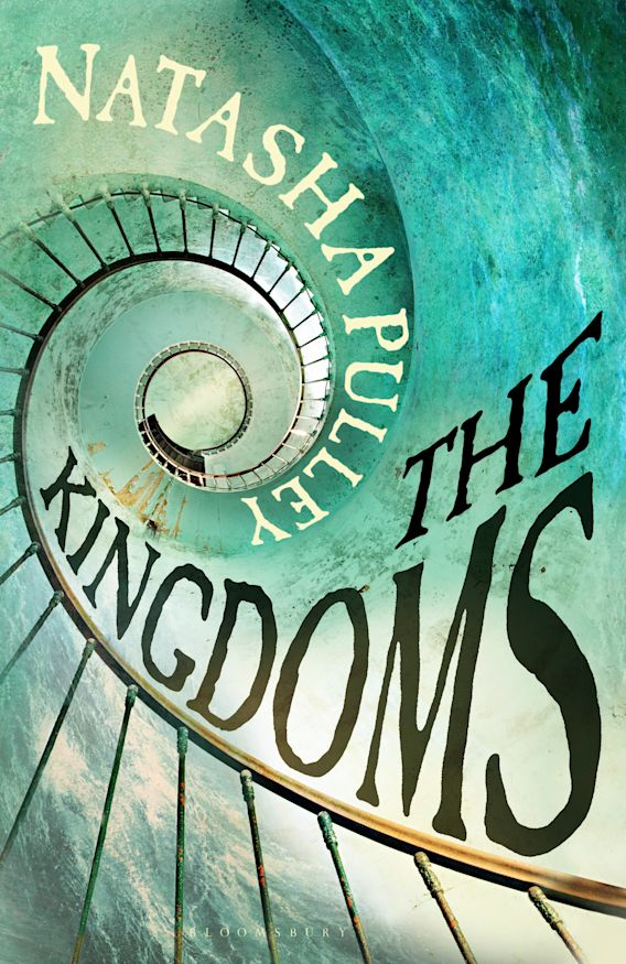 A green cover with a spiral staircase. The title and the author name follow the same spiral. The Kingdoms by Natasha Pulley.