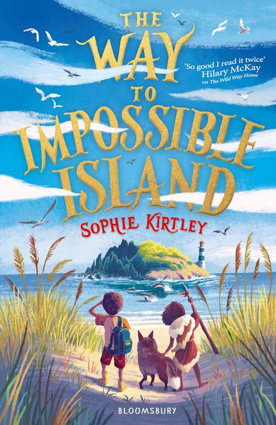A boy and a girl look out to an island under blue sky with clouds. There is a wolf between them. The book is called The Way to Impossible Island by Sophie Kirtley.