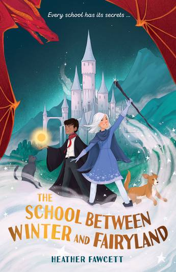 A boy and a girl in front of a castle with a dog and a cat. The girl wears a blue cloak and has white hair. The boy has a black uniform and black hair.